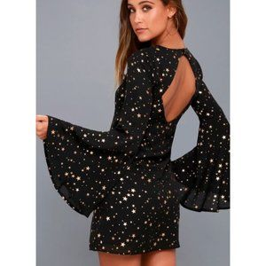 Lulus Extra Celestial Black Star Print Shift Dress
